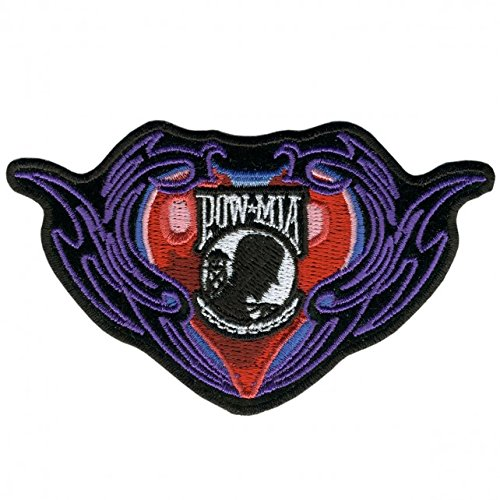 purple-heart-with-pinstripe-iron-on-saw-on-rayon-pow-mia-patch-4-x-3-exceptional-quality