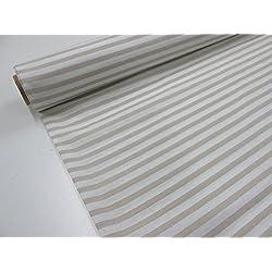 Confección Saymi Metraje 2,45 MTS Tejido loneta Estampada Ref. Rayas Blanco Culla, con Ancho 2,80 MTS.
