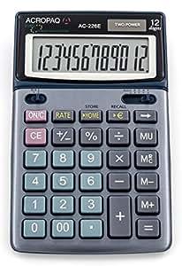 ACROPAQ AC226E - Calculatrice de bureau - Conversion monnetaire - Double alimentation - 17x11cm - 12 grands chiffres - écran rabattable - Bleu