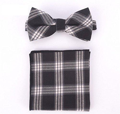 SKNSM hidalgo Juego de pañuelos de cuadros escoceses a rayas casual para hombre Juego de pañuelos de corbata de moño diario a rayas de tartán para conjuntos de Tie