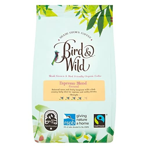 Bird & Wild Signature Espresso Blend, Fairtrade Organic Shade Grown Bird Friendly Coffee, Ground Coffee, 200g net weight