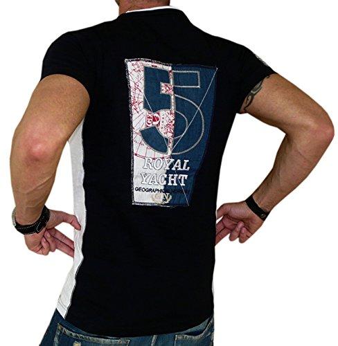 Geographical Norway T-Shirt Rückenprint Doppellagenlook Hemd Men Schwarz