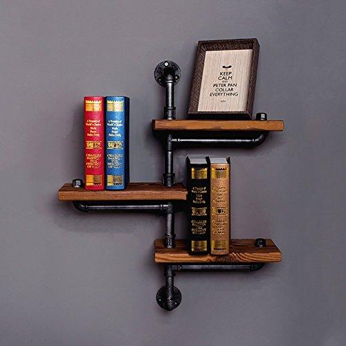 Étagère en fer droit Étagère en bois Étagère en étagère Vintage étagère de cuisine Paquet de 2