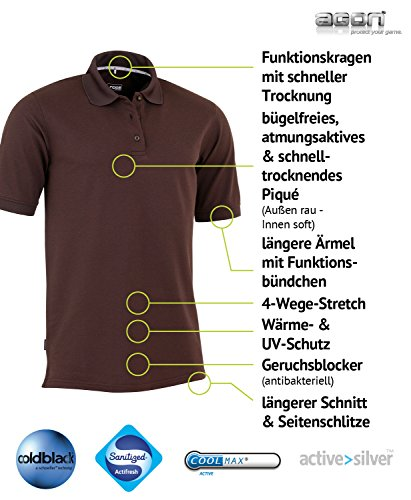 agon Herren Poloshirt Pique Bügelfrei, Atmungsaktiv, Wärmeblocker, UV-Schutz, Geruchsblocker, Antibakteriell Dunkelbraun / Dark Brown
