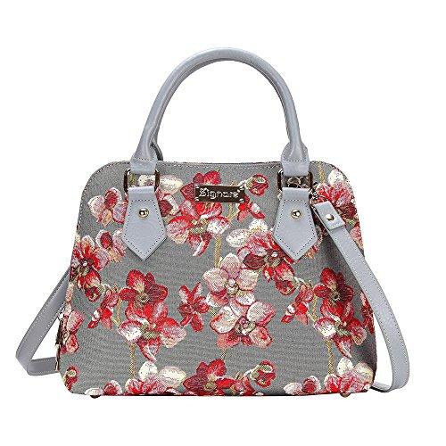 Signare Mode Femme Sac d'épaule Convertible en Toile Tapisserie Orchidée