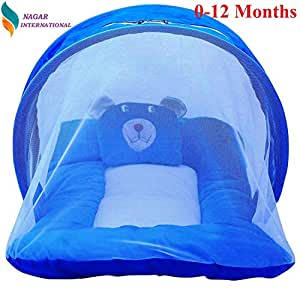 Nagar International Baby Polyester Fabric Luxury Cot Bedding Set with Mosquito Net (Blue; 0-12 Months)