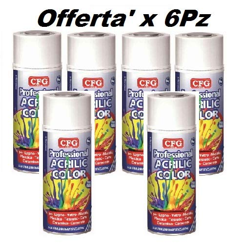 Bombolette Spray NERO OPACO Pz.6 400ml Acrilico Professionale -CFG-