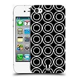 Head Case Designs Doppelkreise Schwarz-Weiss Muster Ruckseite Hülle für Apple iPhone 4 / 4S