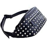 Reeseiy Paquete de Cintura de Moda Casual Chic para Mujer Pequeño Bolso de Cintura Moderno Remaches Bolso de Cintura Mochila de Mini Paquete de Teléfono con Correa Ajustable Hecha de Cuero