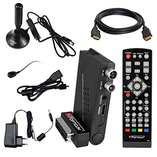 HB DIGITAL DVB-T/T2 SET: Opticum HD AX Lion Air 2 HEVC DVB-T/T2 Receiver + Xoro HAN 150 DVB-T/T2, FM, DAB Aktive Antenne (Full HD, HEVC/H.265, HDTV, HDMI, SCART, USB 2.0 DVBT DVBT2 DVB-T2)