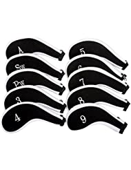 Colmena Filtro 10x cuello largo Hierro palo de golf cabeza fundas con cremallera ajuste para todas las marcas TaylorMade Titleist Callaway Ping Cobra Nike etc. 3-SW, negro / blanco