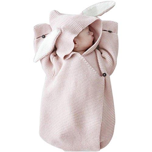 Neugeborenen Baby 3D Kaninchen Ohr Gestrickte Swaddle Decke Pucktuch Wrap Swaddle Decke Baby Kinder Kleinkind Gestrickte Baumwolle Swaddle Schlafsack Schlaf Sack Stroller Wrap(0-12 Monate) Upxiang (Rosa)