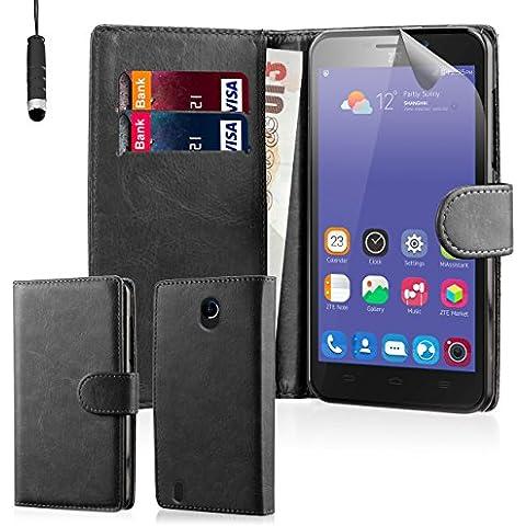 32nd® Funda de cuero sintético tipo billetera para ZTE Blade L3, incluye protector de pantalla, paño de limpieza y lápiz optico -