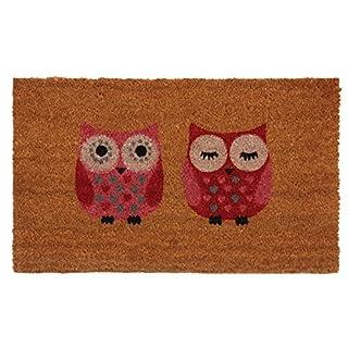 Aubry Gaspard Red Owls Coir Doormat