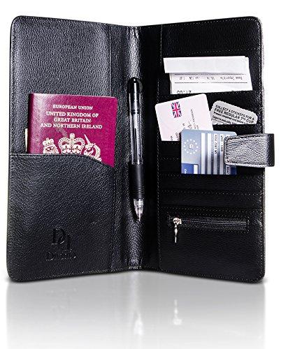 Passport Wallet & Travel Dokumentenhalter - RFID Blocking, hochwertiges PU Leder, wasserdicht, mit Münztasche - von Divinio (Alligator-bi-fold Wallet)