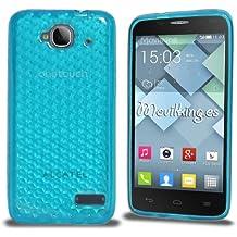 Funda Gel SILICONA de Color AZUL CLARO TURQUESA para Alcatel One Touch Idol Mini (OT-6012) - Orange Hiro