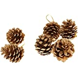 9x Pinecones Baubles Hanging Christmas Xmas Tree Holiday Decoration Pine Cone - gold, 5cm/2.36 inch