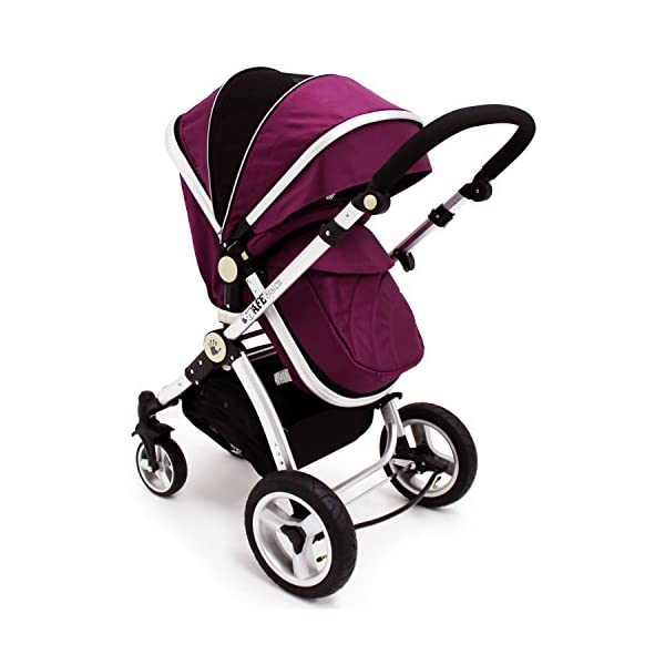 iSafe Trio Pram Stroller 2in1 - Plum (Purple) iSafe 2 in 1 Stroller / Pram Extremely Easy Conversion To A Full Size Carrycot For Unrivalled Comfort Complete With Boot Cover, Luxury Liner, 5 Point Harness, Raincover, Shopping Basket With Closed Ziped Top High Quality Rubber Inflatable Wheels With The Full All around Soft Suspension For That Perfect Unrivalled Ride 2