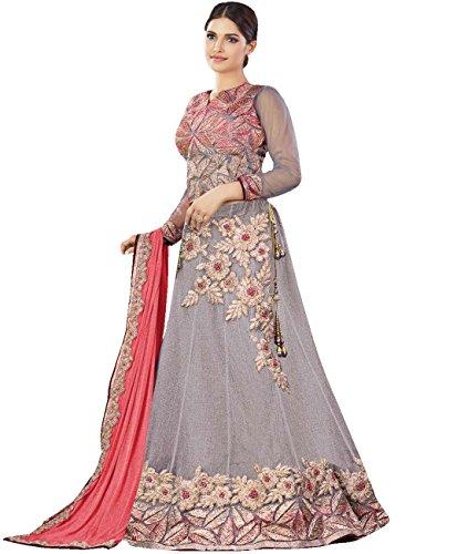 Indian Ethnicwear Bollywood Pakistani Wedding Grey Flare Lehenga Semi-stitched
