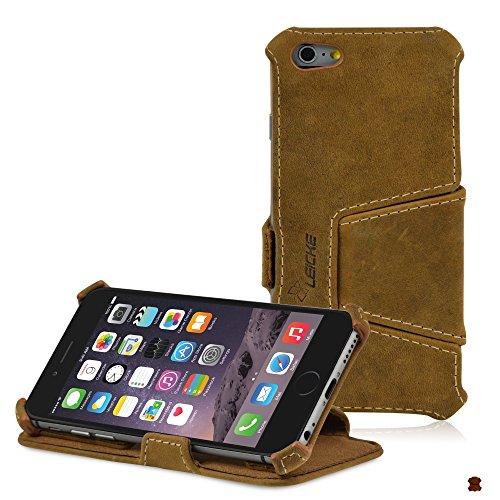 Manna UltraSlim Flip-Case für iPhone 6 (11,9cm / 4,7Zoll), Schutzhülle, feinstes Nappaleder Astana, Brown EasyStand   Nubuck Leather, iPhone 6 (11,9 cm / 4,7 Zoll)