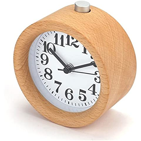 KKwell Handmade Classic Round Wooden Clock Luminous Mute Snooze Bedside clock