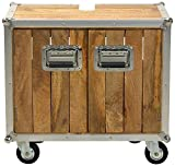 Sit-Möbel 2206-01 mueble 'los plomos', mango de madera sin tratar, de color aluminio formación, 2 puertas, con ruedas, 66 x 40 x 62 cm