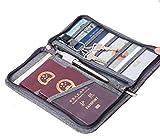 Ausweistasche Reisepasstasche Tickettasche Reise Dokumente Tasche Travel Wallet Organizer Reisepass Flugkarten Passport mit Reißverschluss, Grau [Abmessung: 23.5x12.5x3cm]