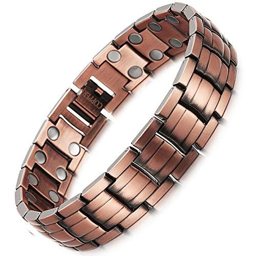 AILSAYA Magnetarmband, Reines Kupfer, Rose Gold Einstellbar, Geschenk Heilung Bio-Energie Elastisches Armband Kupferarmband Karpaltunnel Tunnel Migräne Menopause Reduktion Müdigkeit (Magnet Rädern Auf)