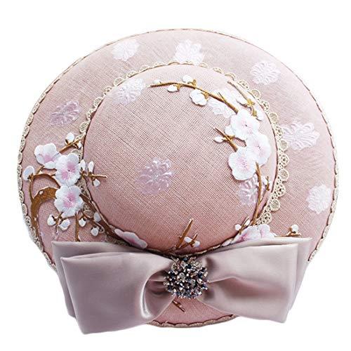 Fepelasi Damen Filzhut, Rosa bestickter Bowknot für Hochzeit, Party, Bankett (Color : Pink)