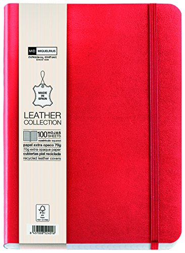 basicos-mr-10434-flexible-skin-notebook-4th-300-sheets-5-mm-squared-with-rubber-red