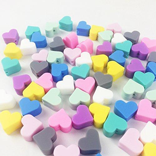 Il cibo sensoriali Giocattoli Beads masticabili collana o braccialetto a forma di cuore 20pcs Silicone Beads Shape gioielli fai da te Grade Massaggiagengive