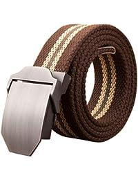 Yefree Cinturón táctico de los hombres cinturón tejido Cinturón de lona  hebilla automática pantalones cinturón hombre 216468082c12