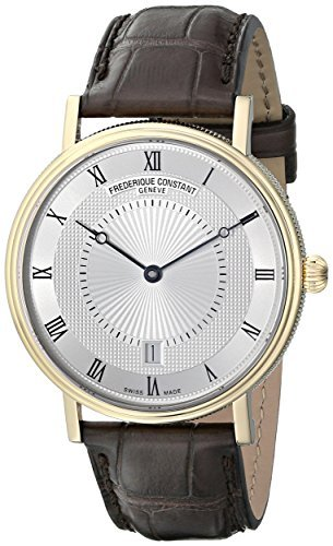 Frederique Constant Men's Slim Line Gold-Tone Stainless Steel Swiss Automatic Watch with Silver Dial and Brown Leather Band FC-306MC4S35 by Frederique Constant