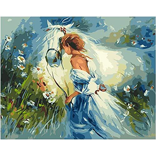GUUTOP White Horse Girl - Adult Digital DIY Gemälde, modernes Wandgemälde, Gemälde digitaler Bausatz mit Pinsel auf Leinwand Digital Home Decoration Ölgemälderahmen