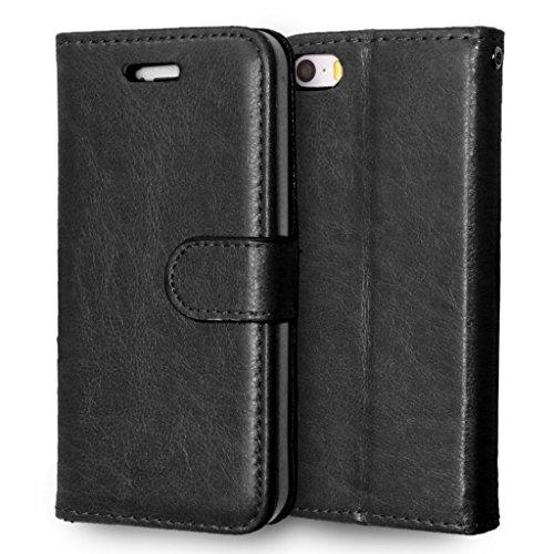 FUBAODA étui Folio en cuir pour Apple iphone 5 5c 5s, [Syncwire Câble Gratuit] Cover Coque TPU Porte cartes avec Support Protection intégrale pour iphone 5 5c 5s (noir) Black