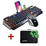 Hoopond - Tastiera multimediale USB con retroilluminazione a LED, ergonomica, con telefono e supporto per accendino, 2000 DPI, 6 tasti, set mouse da gioco + tappetino per mouse per PC portatile