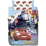 Disney Cars Neon - Funda nordica 3 piezas para cama de 90 cm