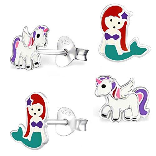 (G-H* 2 PAAR Ohrstecker Meerjungfrau + Pegasus Einhorn SET 925 Echt Silber Sterlingsilber Mädchen Kinder Ohrringe Emaille)