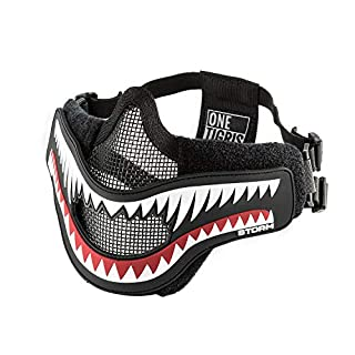 OneTigris X Storm Airsoft Mask with Removable Shark Jaw Morale Patch (Black)