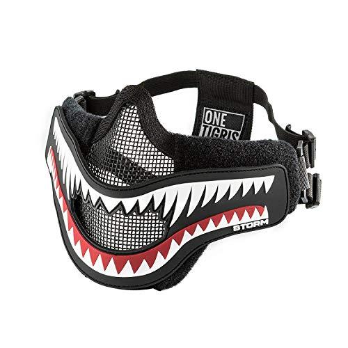 OneTigris Airsoft Maske mit Entfernbarem Hai-Kiefer Morale Patch für Softair Paintball CS |MEHRWEG Verpackung