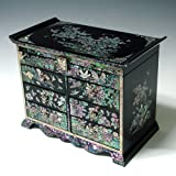 Mother of Pearl Girls Asian Lacquer Wooden Black Jewellery Trinket Keepsake Treasure Gift Jewel Ring Drawer Box Chest Case Holder Organizer with Flower and Bird Design