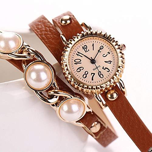 Armbanduhren für Damen Mädchen Studentin Womans Armbanduhr Damen Serie mädchenuhr Damenuhr DREI Perlenring Watch @ Coffee