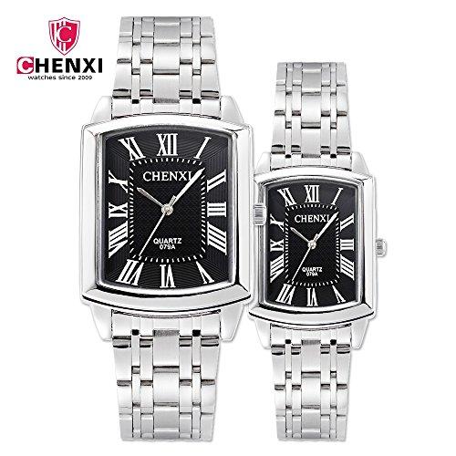 SJXIN Stilvolle Uhr Quadratische Uhr Stahlgürtel Männer und Frauen Uhr wasserdicht Paar Uhr CHENXI Markenuhr 079A Modeuhren (Color : Man-Black)