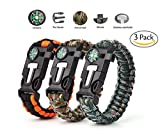 Paracord Survival Bracelet,Vdealen Survival Kit with Flint Fire Starter, Scraper,Compass, Whistle and Parachute Cord Buckle for Hiking Camping,Boating Emergency or Other Outdoor Activities,Pack of 3