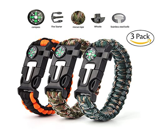 Paracord Survival Bracelet,Vdealen Survival Kit with Flint Fire Starter, Scraper,Compass, Whistle and Parachute Cord Buckle for Hiking Camping,Boating Emergency or Other Outdoor Activities
