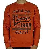 My Generation Gifts 1968 Vintage Year - Aged To Perfection - Regalo di Compleanno per 50 Anni Felpa da Uomo Arancione Scuro L