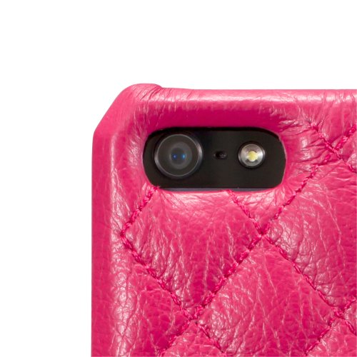 Jisoncase Mobile Phone Case Genuine Lether Cover for iPhone 5 Protective Function Original Designer Card Holder for Apple Accessories iPhone 5 Hot Pink Color JS-IP5-01G33