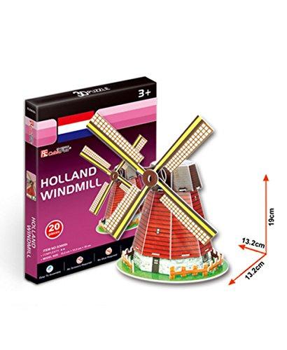 Die Holländer-Windmühle Dreidimensionale Gebäude Des Manuelle Montage Papiermod