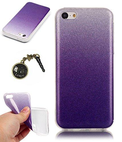 TPU Coque iPhone 5C, Bling Bling Gliter Sparkle Coque Paillette [ Ultra Mince ] Housse Etui Premium Coque pour Apple iPhone 5C +Bouchons de poussière (14RR) 9