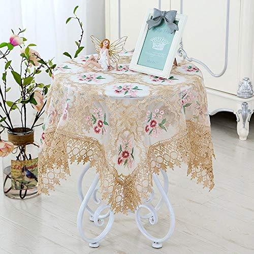 ChenHui Nouveau Verre Fil brodé Tissu de Table européen de Nappe brodée Dentelle thé Table Moderne Simple Chevet Housse en Tissu